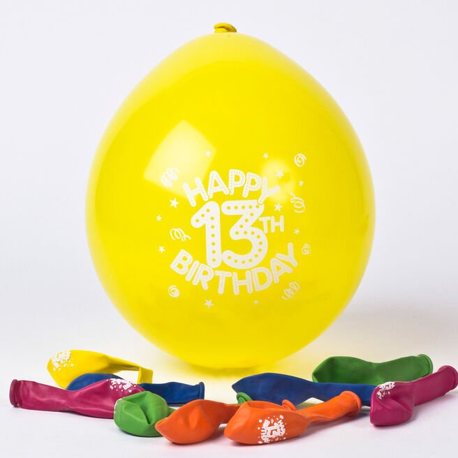Multicoloured Age 13 Small Air-fill Latex Balloons - Pack Of 10