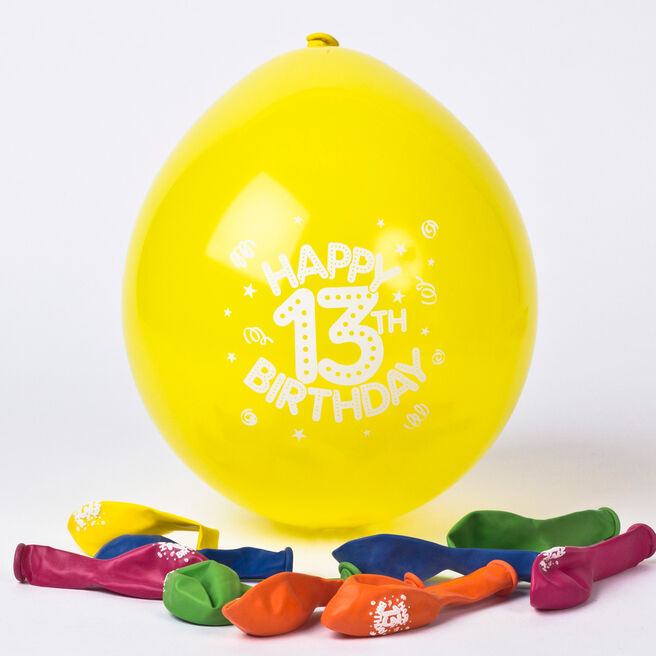Multicoloured Age 13 Small Latex Balloons - Pack Of 10