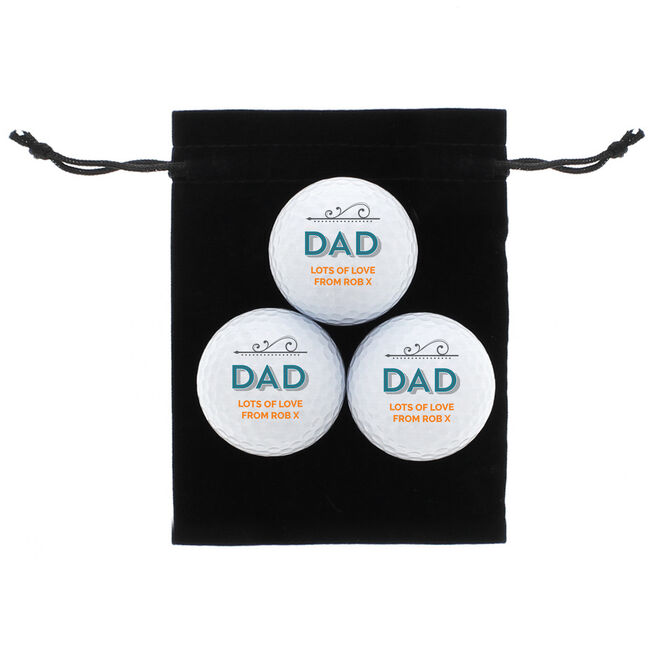 Personalised Golf Ball Set - Dad The Legend