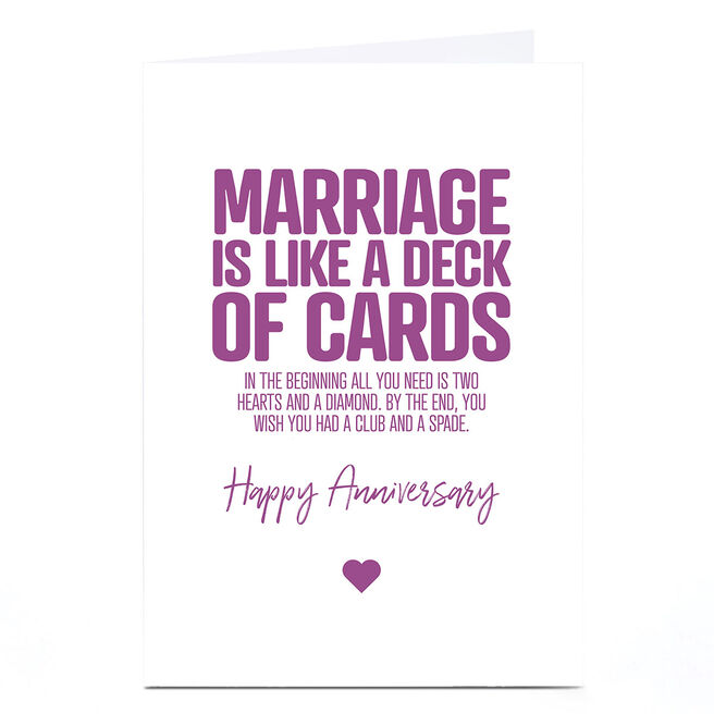 Personalised Punk Anniversary Card - Deck of Cards