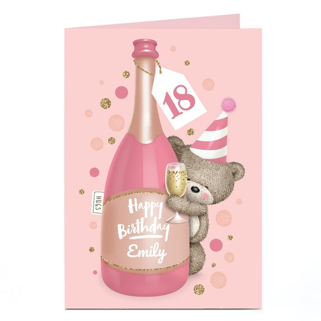 Personalised Any Age Hugs Bear Birthday Card - Pink Champagne
