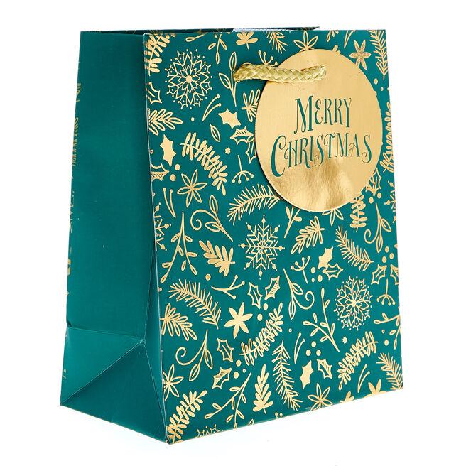 Miniature Portrait Green & Gold Christmas Gift Bag