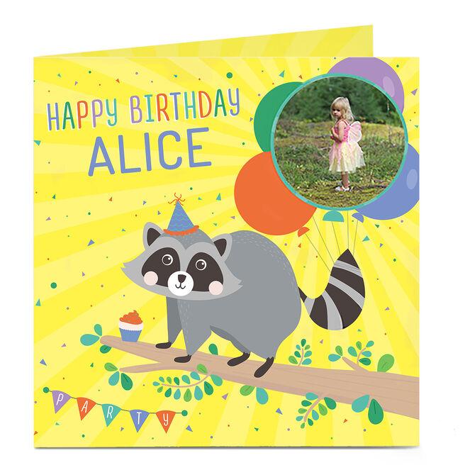 Photo Birthday Card - Raccoon & Balloons