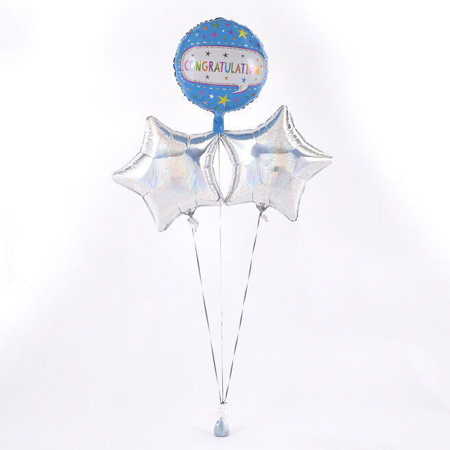 Congratulations Blue Balloon with Silver Balloon Bouquet - The Perfect Gift!