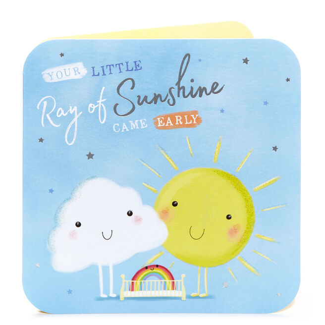 Premature New Baby Card - Little Ray Of Sunshine