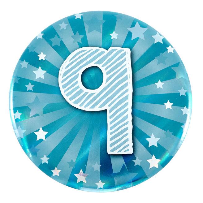 Giant 9th Birthday Badge - Blue