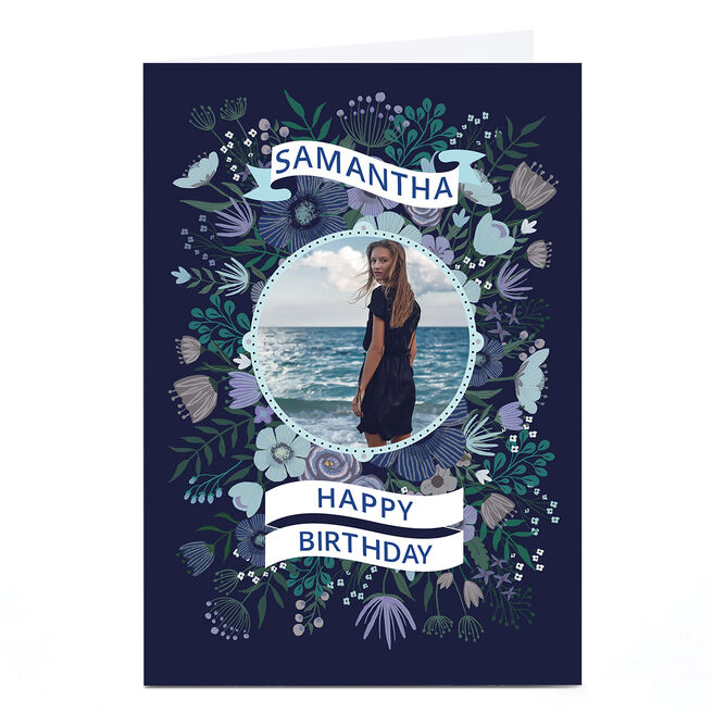 Photo Dalia Clark Birthday Card - Floral Frame Blue