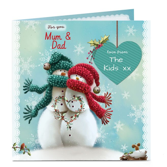 Personalised Christmas Card - Mum & Dad Snow Couple