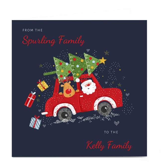 Personalised Kerry Spurling Christmas Card - Santa in Car
