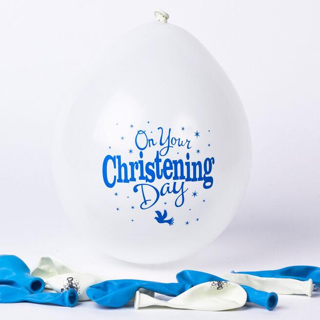 Blue & White Christening Latex Balloons, Pack Of 10