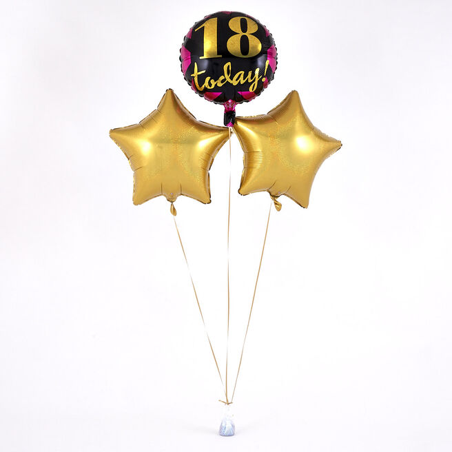 18 Today' Pink, Black & Gold Balloon Bouquet - DELIVERED INFLATED!
