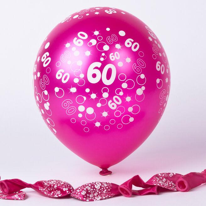 Metallic Pink Circles 60th Birthday Helium Latex Balloons - Pack Of 6