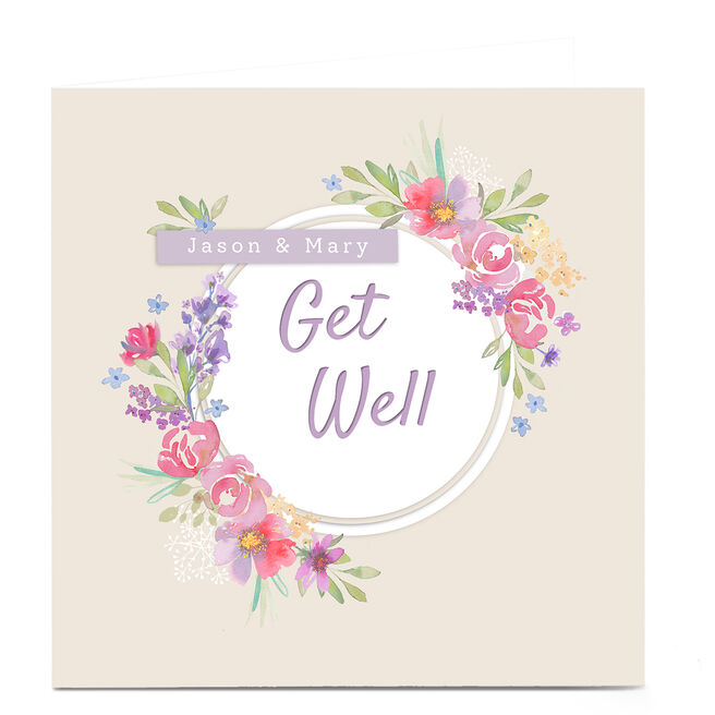 Personalised Kerry Spurling Get Well Soon Card - Floral