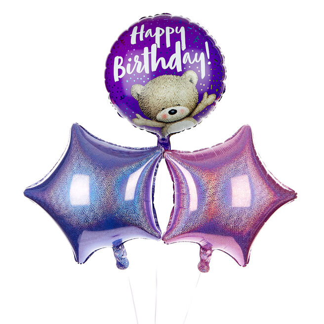 Hugs Bear Happy Birthday Balloon Bouquet - DELIVERED INFLATED!