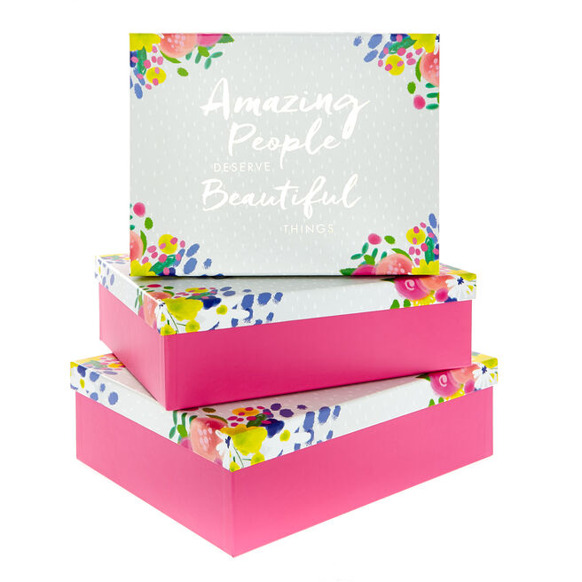 Amazing People Beautiful Things Gift Boxes - Set Of 3