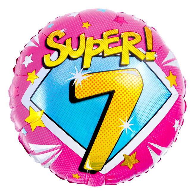 Super 7th Birthday 18-Inch Foil Helium Balloon