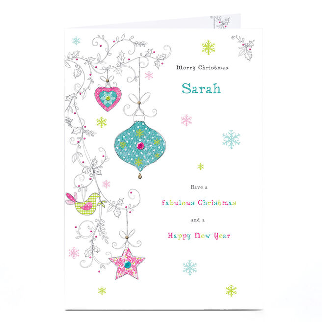 Personalised Christmas Card - Bauble Print