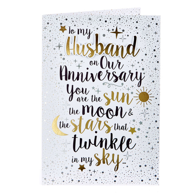 Anniversary Card - Husband, Sun, Moon & Stars