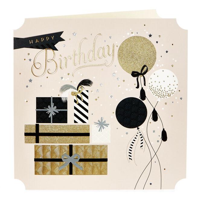 Birthday Card - Balloons & Gifts