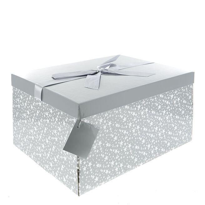 Flat-Pack Crate Gift Box - Silver & White Stars