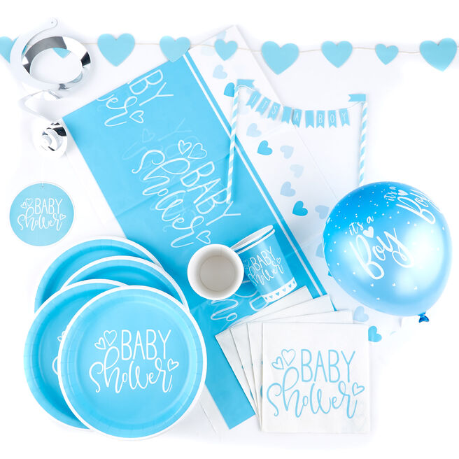 Blue Baby Shower Tableware & Decorations Party Bundle - 75 Pieces