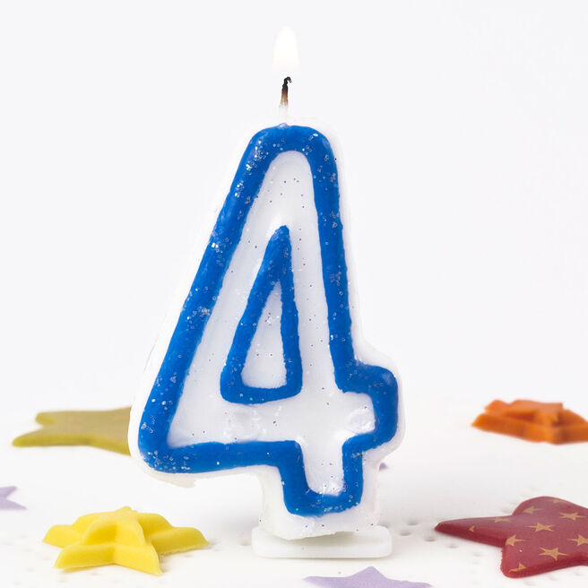 Blue Glittery Number 4 Birthday Candle