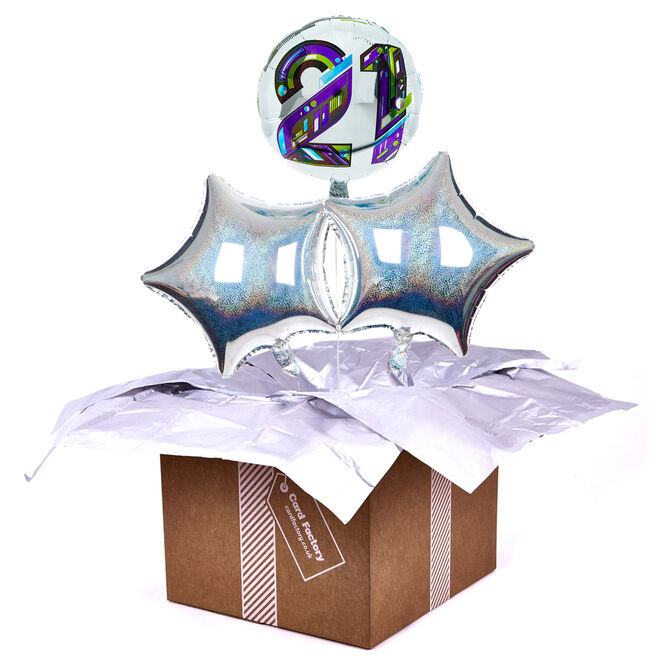 Modern Numerals 21st Birthday Balloon Bouquet - DELIVERED INFLATED!