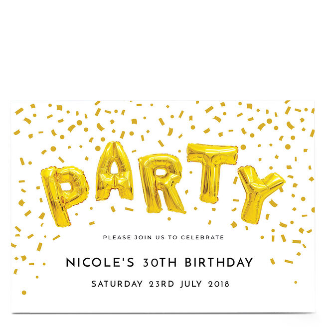 Personalised Party Invitation - Gold Party Balloons