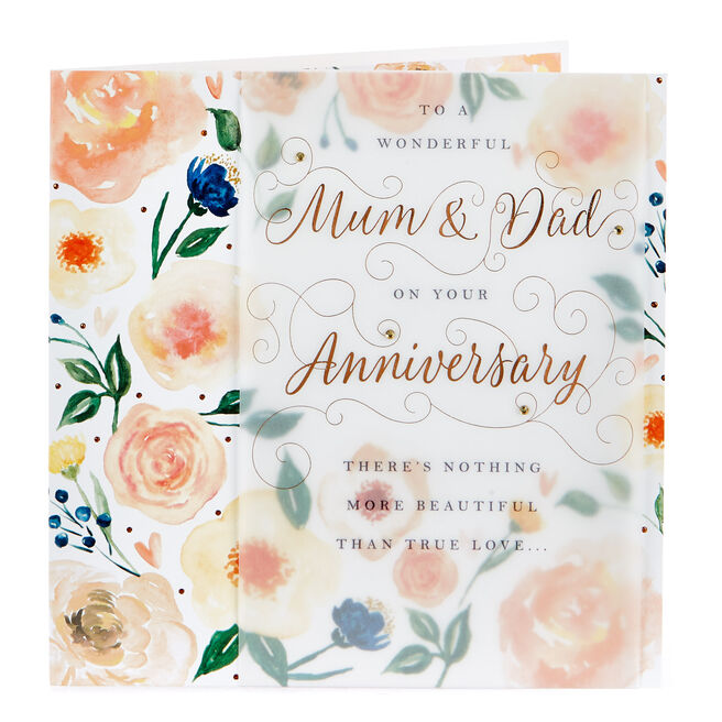 Exquisite Collection Anniversary Card - Wonderful Mum & Dad