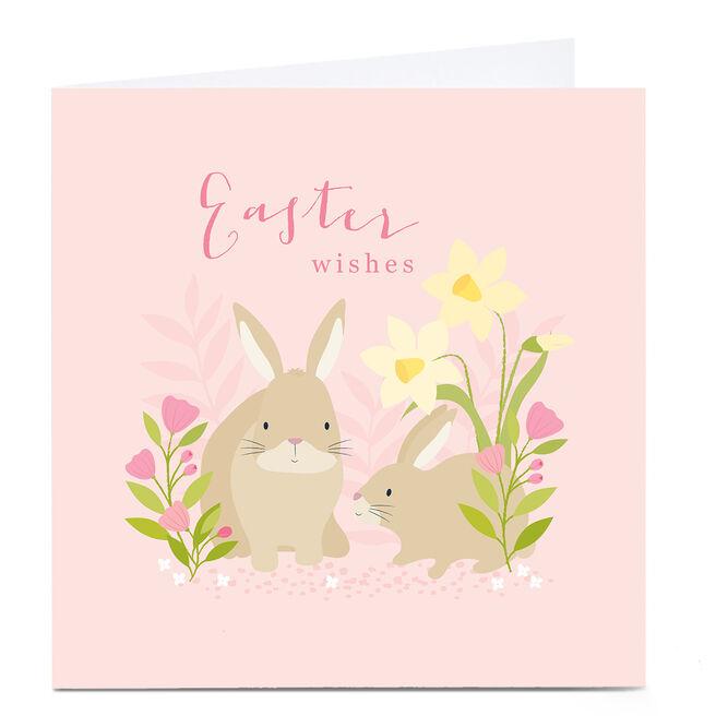 Personalised Klara Hawkins Easter Card - Pink Bunnies