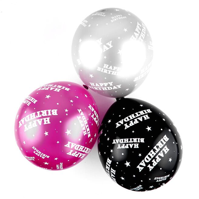 Pink Happy Birthday Balloons - Pack Of 6