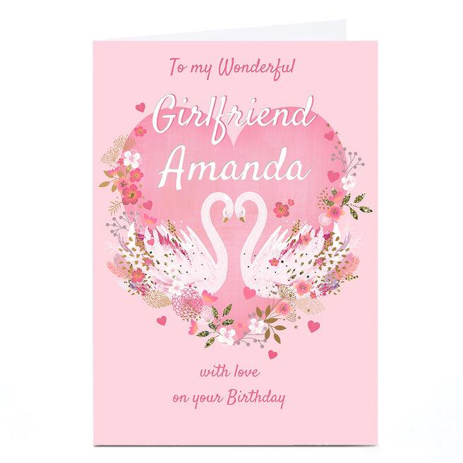 Personalised Kerry Spurling Birthday Card - Swans, Girlfriend