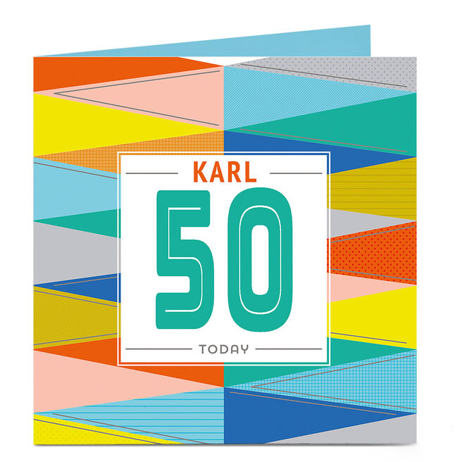 Personalised Any Age Birthday Card - Multi Coloured Blue