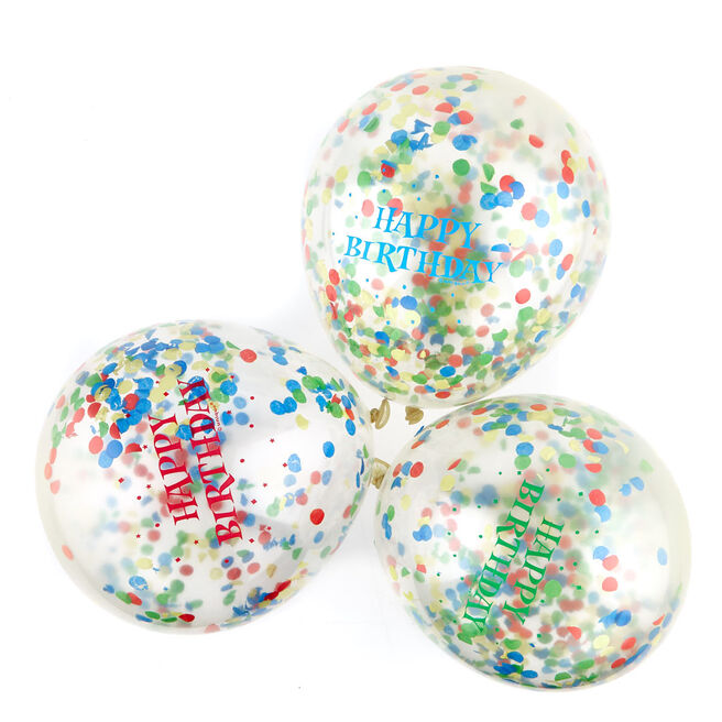 Happy Birthday Multicoloured Confetti Balloons - Pack Of 6
