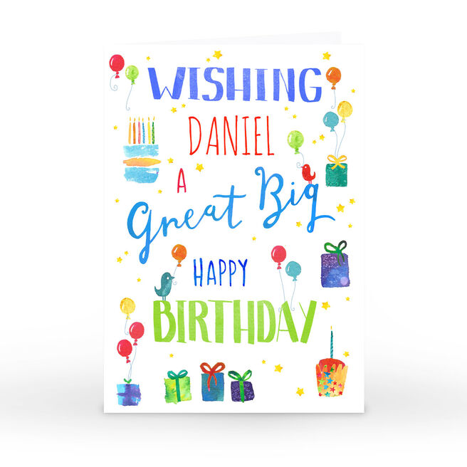 Personalised Nik Golesworthy Birthday Card - Cake & Presents