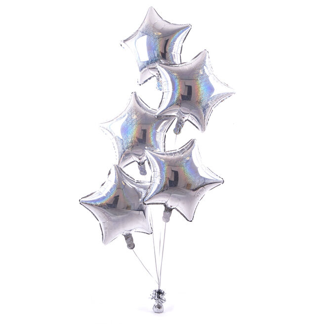 5 Silver Stars Balloon Bouquet - DELIVERED INFLATED!