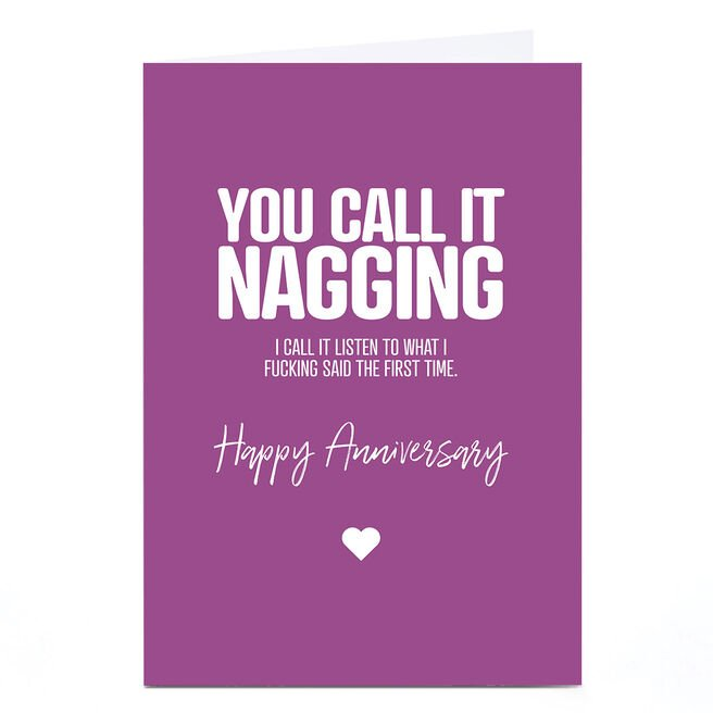 Personalised Punk Cards Anniversary Card - You Call it Nagging