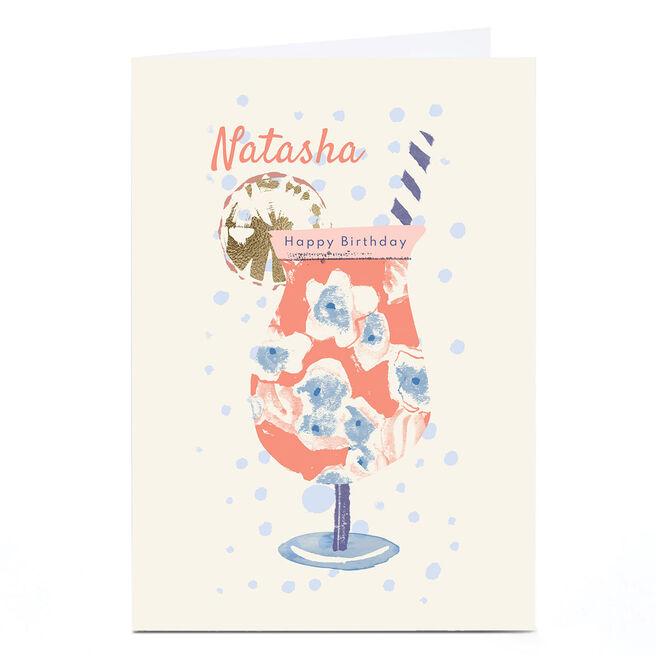 Personalised Rebecca Prinn Birthday Card - Cocktail