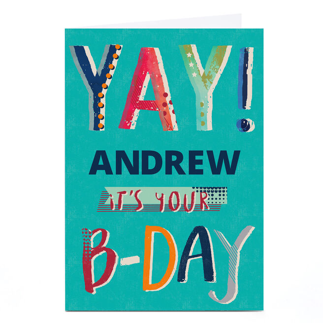 Personalised Kerry Spurling Birthday Card - Yay!