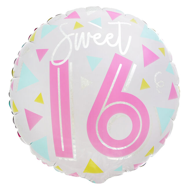 Sweet Sixteen 16th Birthday 18-Inch Foil Helium Balloon