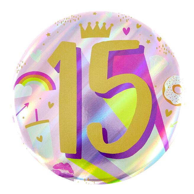 Giant 15th Birthday Badge - Pink