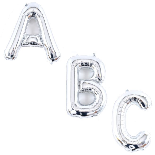 Silver Air-Inflated Letter Balloons - Deflated