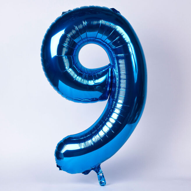 Blue Number 9 Giant Foil Helium Balloon INFLATED