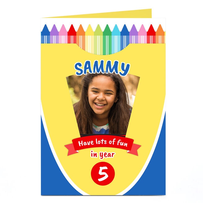 Personalised Photo Card - Crayons, New School Year