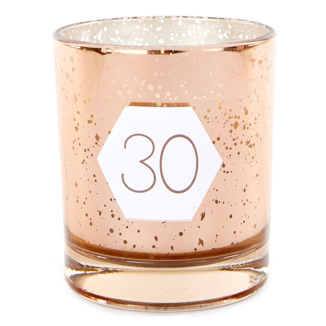Rose Gold Vanilla Scented 30th Birthday Candle