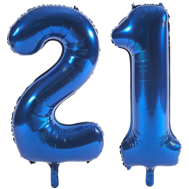 Age 21 Giant Foil Helium Numeral Balloons - Blue (deflated)