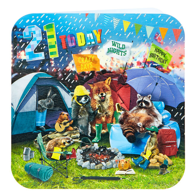 Platinum Collection 21st Birthday Card - Music Festival Animals