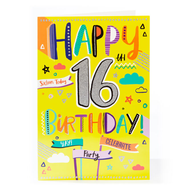 Giant 16th Birthday Card - Sixteen Today