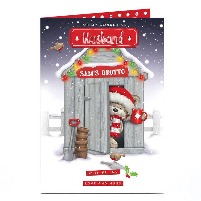 Hugs Personalised Christmas Card - Husband's Grotto
