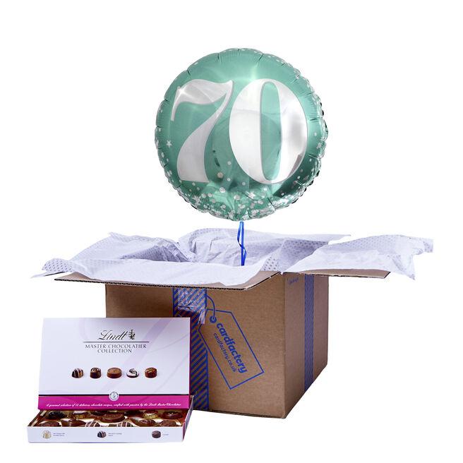 Mint Green & Silver 70th Birthday Balloon & Chocolate Box